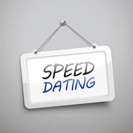 speed dating: speed dating hanging sign, 3D illustration isolated on grey wall
