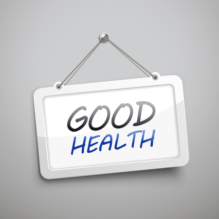 good health: good health hanging sign, 3D illustration isolated on grey wall Illustration
