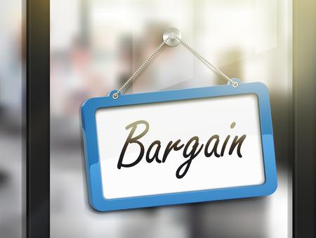 bargain price: bargain hanging sign, 3D illustration isolated on office glass door Illustration