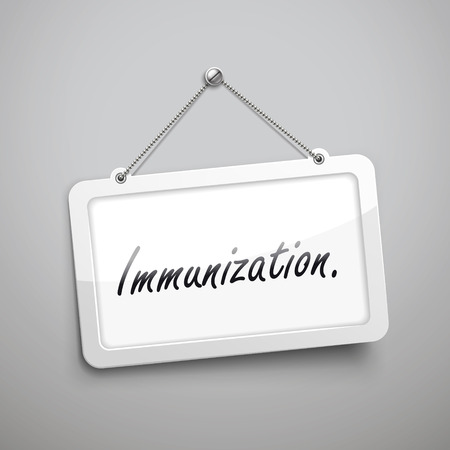 carcinogen: immunization hanging sign, 3D illustration isolated on grey wall Illustration