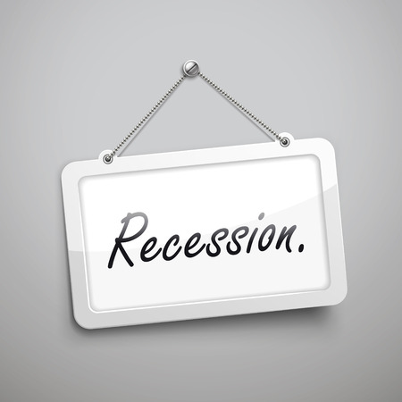 economic downturn: recession hanging sign, 3D illustration isolated on grey wall Illustration
