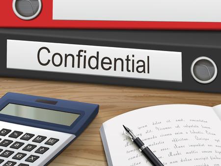 confidential binders isolated on the wooden table. 3D illustration. Vektoros illusztráció