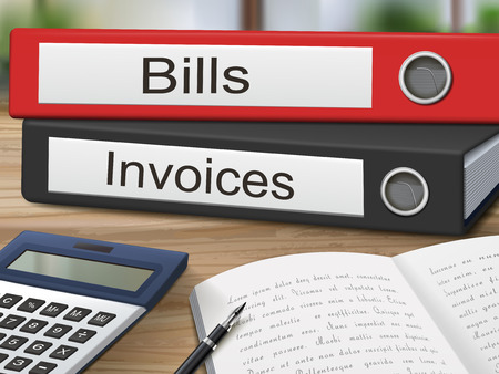invoices: bills and invoices binders isolated on the wooden table. 3D illustration.