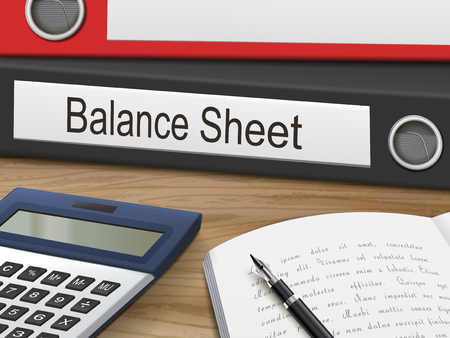 balance sheet binders isolated on the wooden table. 3D illustration.