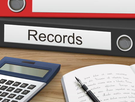 registros contables: records binders isolated on the wooden table. 3D illustration.