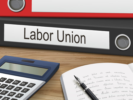 workers rights: labor union binders isolated on the wooden table. 3D illustration. Illustration