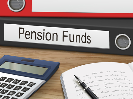 pension: pension funds binders isolated on the wooden table. 3D illustration.