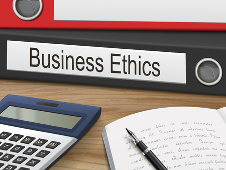 business ethics: business ethics binders isolated on the wooden table. 3D illustration.