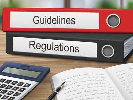 regulations: guidelines and regulations binders isolated on the wooden table. 3D illustration.