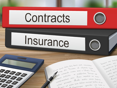 contracts: contracts and insurance binders isolated on the wooden table. 3D illustration. Illustration