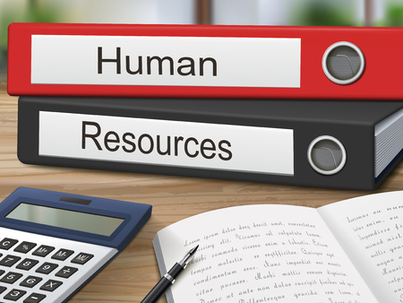 staffing: human and resources binders isolated on the wooden table. 3D illustration.