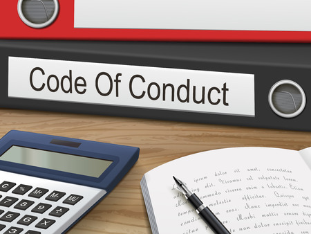 conduct: code of conduct binders isolated on the wooden table. 3D illustration. Illustration