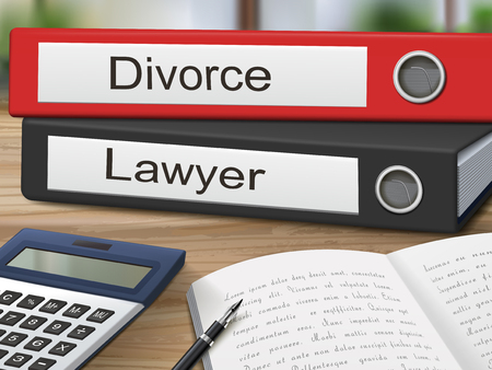 lawyers: divorce and lawyer binders isolated on the wooden table. 3D illustration.