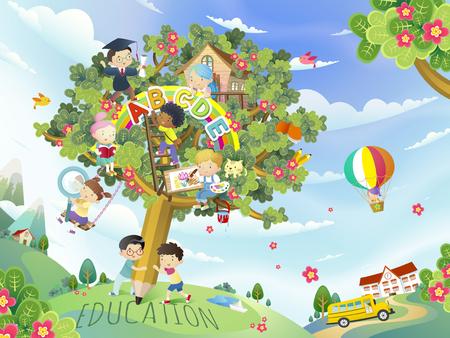 Education design plat, de beaux enfants jouant dans l'arbre de stylo Banque d'images - 62394235