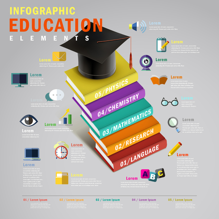 successful student: Education infographic design, 3d isometric style with books stairs and graduation cap Illustration