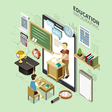 online education: Online Education infographic design, 3d isometric style with learning lessons on device