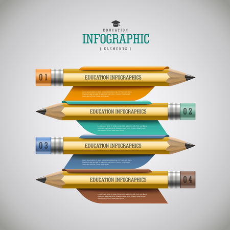 yello: Education infographic design, realistic pencil with options