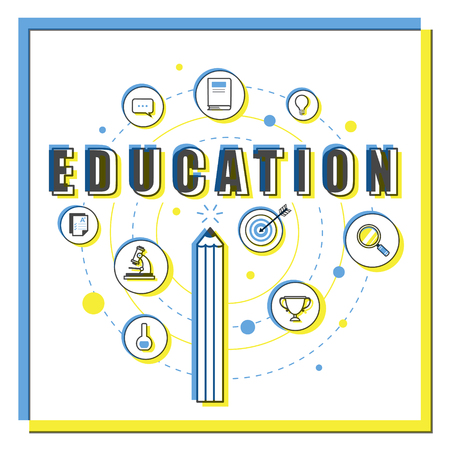 yellow line: Education flat design, thin line style pencil and icons in blue and yellow