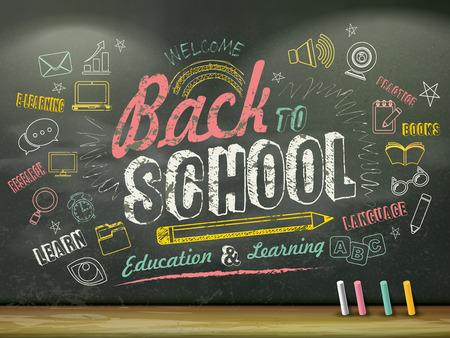slogan: diseño plano educación, de nuevo a la escuela escrita en la pizarra