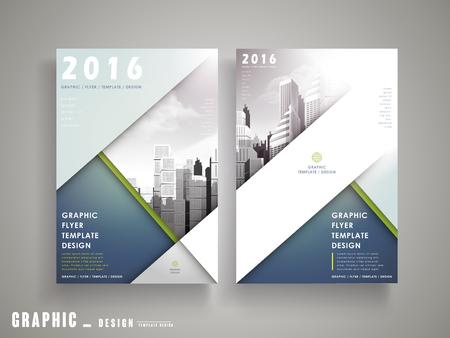 チラシや都市景観とブルー幾何学的要素とカバー デザイン  イラスト・ベクター素材