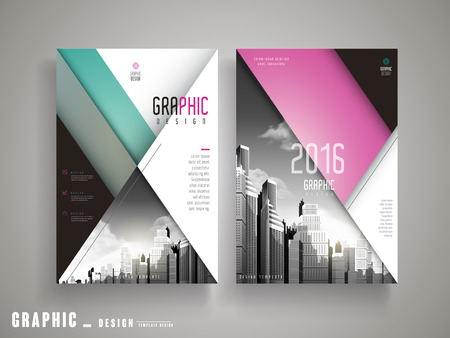riverbank: Flyer or Cover Design with attractive city landscape in grey and geometric elements