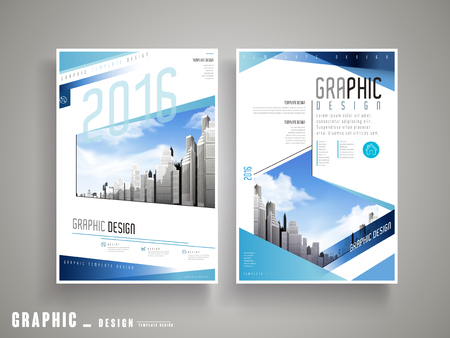 Flyer or Cover Design with attractive city landscape and blue striped