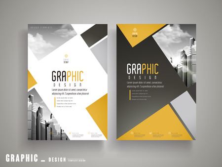 Flyer or Cover Design with attractive city landscape in grey and geometric elements
