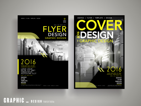 Modern Flyer or Cover Design with grey city landscape and yellow, black elements Illustration