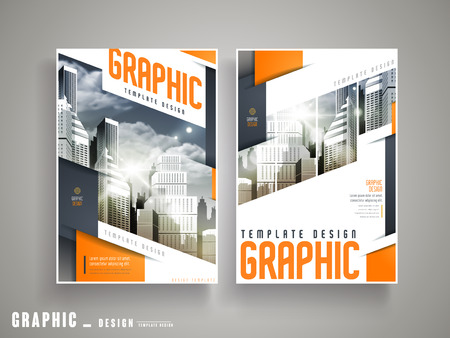 Flyer of Cover Design met stadslandschap en geometrische elementen in oranje en blauw