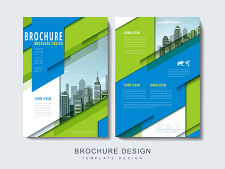 riverbank: Flyer or Cover Design with urban city landscape and geometric elements Illustration