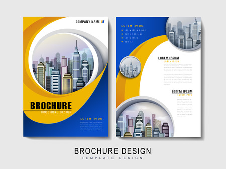 Flyer or Cover Design with urban city landscape and curved line element Çizim