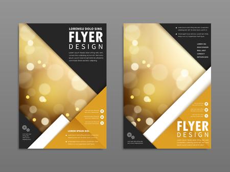 Elegant flyer design, blurred and sparkling background with geometric elements Ilustração