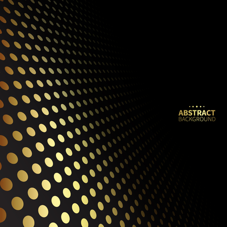 black background abstract: Luxury golden dotted pattern on black background. Flat shape.