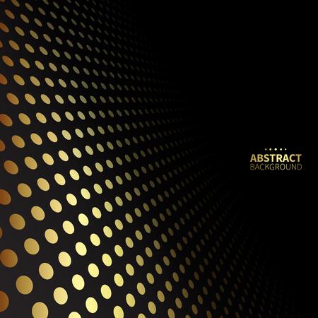 patrón de puntos de oro de lujo sobre fondo negro. Forma plana.