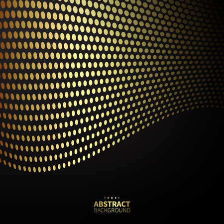 phantom: Luxury golden dotted pattern on black background. Wavy lines.