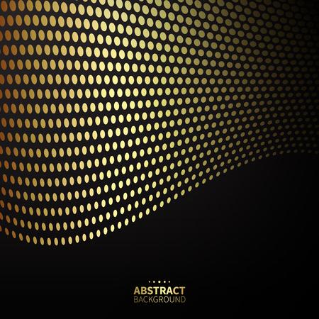 Luxury golden gepunkteten Muster auf schwarzem Hintergrund. Wellenlinien.
