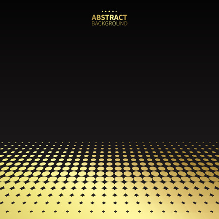高級黄金黒の背景にドット パターン。平らな形状。