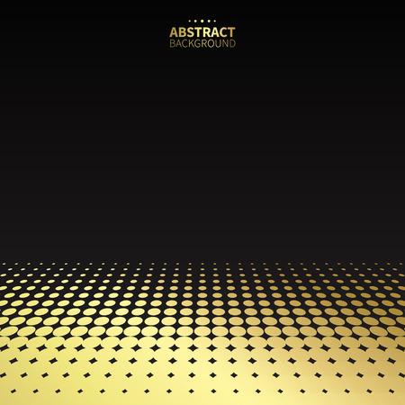 Luxe motif pointillé d'or sur fond noir. forme plate. Vecteurs