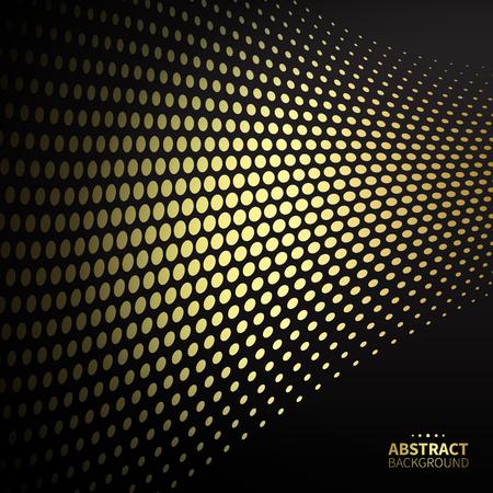 phantom: Luxury golden dotted pattern on black background. Flat shape.