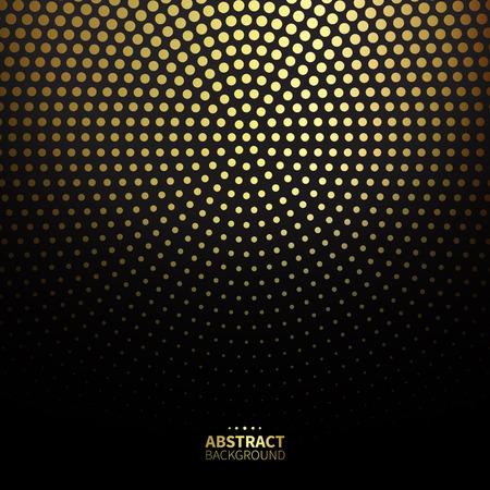 Luxury golden dotted pattern on black background. Round shape.
