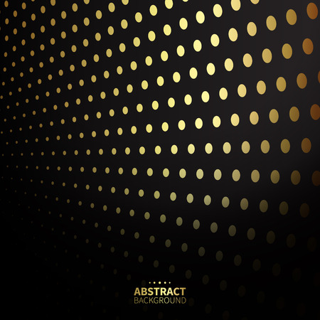 lean out: Luxury golden dotted pattern on black background. Flat shape.