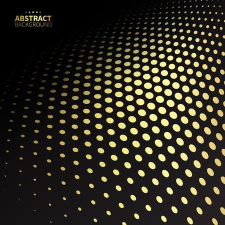 fade: Luxury golden dotted pattern on black background. Flat shape.