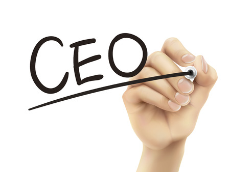 ceo: CEO written by hand, 3D illustration realistic hand writing on transparent board