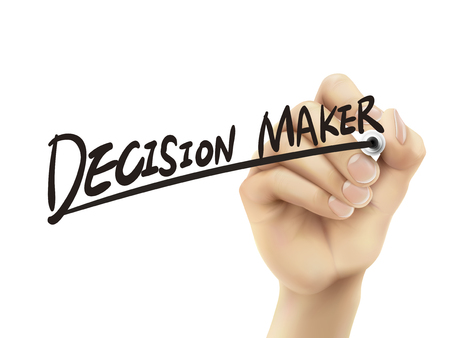 Decision maker written by hand, 3D illustration realistic hand writing on transparent board