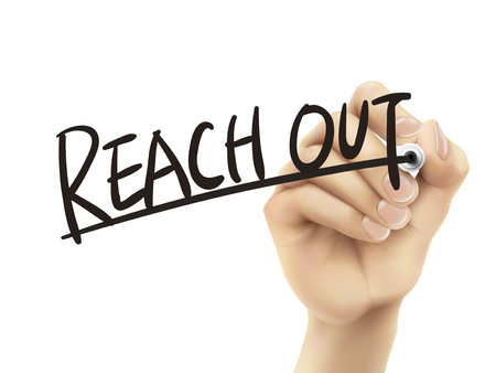 reach out: Reach out written by hand, 3D illustration realistic hand writing on transparent board Illustration