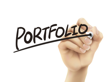 Portfolio written by hand, 3D illustration realistic hand writing on transparent board