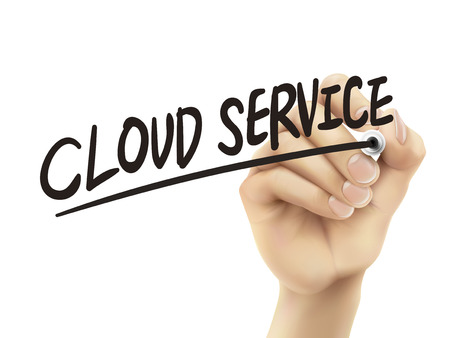cloud service: Cloud service written by hand, 3D illustration realistic hand writing on transparent board