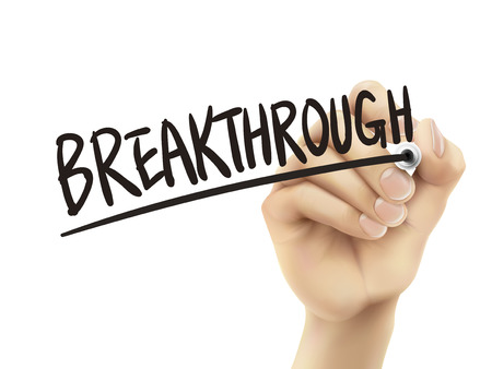breakthrough: Breakthrough written by hand, 3D illustration realistic hand writing on transparent board