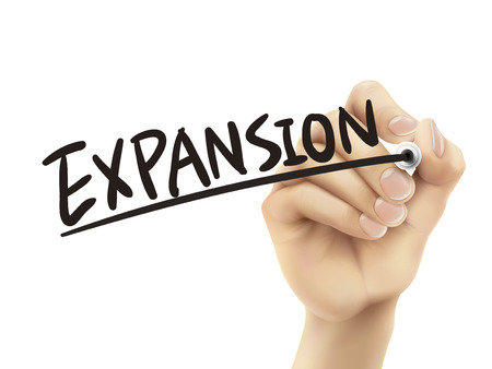 expansion: Expansion written by hand, 3D illustration realistic hand writing on transparent board