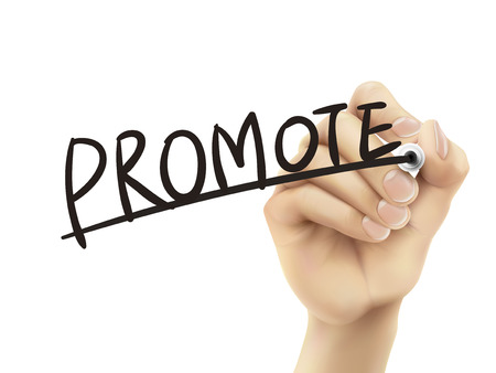 promote: Promote written by hand, 3D illustration realistic hand writing on transparent board Illustration